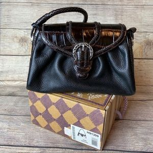 Brighton Dora Bag Black with Chocolate Croc Print